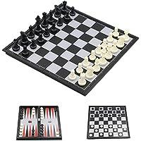 El tablero de ajedrez internacional del recorrido 3in1 con la base magnética, 32pcs Chessmen & 5pcs corta en cuadritos y el chaquete 30pcs (pequeño (32 * 32 * 2cm)).