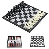 T Tocas Klein, 3in1 Reise Schachspiel Magnetisch, 32pcs Chessmen & 5pcs Würfelt & 30pcs Backgammon, mit Schachbrett(25 * 25 * 2cm)