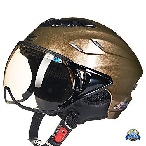 YLFC Casco Moto, Casco Jet Moto Scooter Motorino Chopper ·Elmetto Super Traspirante Casco di Protezione UV elmetto Estivo · Omologato ECE