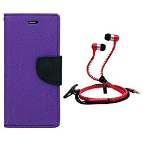 Aart Fancy Diary Card Wallet Flip Case Back Cover For Mircomax A210-(Purple) + Zipper earphones/Hands free With Mic *Stylish Design* for all Mobiles By Aart store