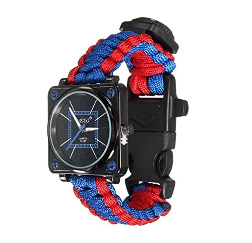 xinyiwei Multifunktional outdoor Survival Armband Kompass Armbanduhr Klettern Camping Equipment (blau, rot)
