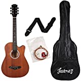 #7: Juârez JRZ38C/MAH 6 Strings Acoustic Guitar 38 Inch Cutaway, Right Handed, Mahogany with Bag, Strings, Picks and Strap