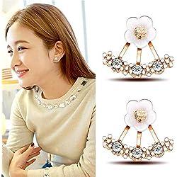 Volwco - Pendientes colgantes con diseño de margarita y flores de cristal para mujer, joyería de moda, pendientes hipoalergénicos con flor de plata para mujeres y niñas