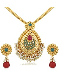 Apara Gold Plated Pendant Set With Pearl For Women
