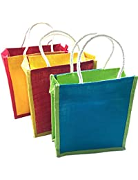 Jute Lunch Bag Printed - Combo Of 3 Shopping Jute Bag With Zip Closer, Eco-Friendly Jute Lunch Bag