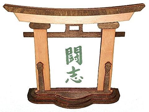 Japan Standbild Torii Hisa - Schriftzeichen Kampfgeist