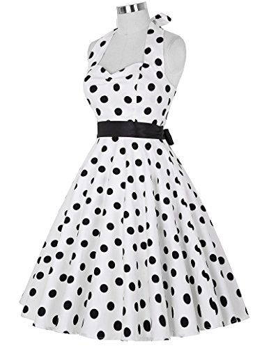 Grace Karin Vintage Retro Festliche Kleider Neckholder Polka Dots Sommerkleid ZY4599 FarbeC