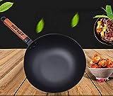 LEHONG Premium Wok-Pfanne Gusseisen Ø 30cm, Mit abnehmbarem Griff Pfanne,Gusseisenpfanne für alle Herdarten, Schwarz