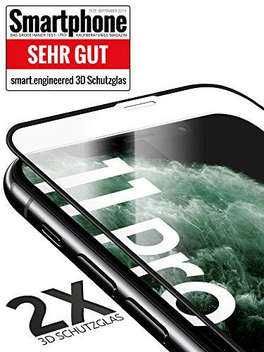 3D Schutzglas 9H Fullscreen [2 Stück] kompatibel mit iPhone 11 Pro [Panzerglas-Folie] Premium Glas-Schutz, Schablone-Installationshilfe, Hartglas, Hüllenfreundlich, volle Abdeckung, Transparent