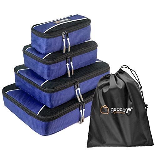 Contenitori per valigia Premium GeoBags® - Organizer per valigie- Set da 5 pezzi - Borsa per scarpe - Completamente foderate - Cerniere YKK di alta qualità - Small, Medium, Large ed Extra Large (Blu scuro)