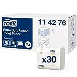 Tork 114276 Carta Igienica Intercalata Extra Soft Premium, 2 Veli, Bianco, 19X11 cm, 7560 Fogli