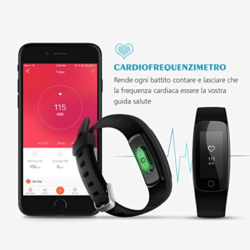 Activity Tracker IP67, Mpow Orologio Cardiofrequenzimetro Contapassi da Polso Donna, Bracciale Fitness Tracker Uomo Fit Watch Calorie Pedometro IP67 per Outdoor Corsa e Ciclismo per iOS Android, Nero