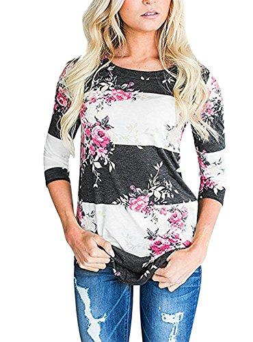 Yidarton Herbst Bluse Damen Langarm Shirt Pullover Floral Splice Printing Rundhals Tops T Shirt Oberteil (L, Schwarz-Weiss) (Shirt Floral Schwarz)