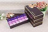 FunRun 18 Stücke Rosen-Duftseifen in Geschenk-Box, Konservierte Rosenduft Steigung-Farben-Badeseife Rose in Geschenkbox Bestes Geburtstags-Valentinstag-Geschenkx (Lila)