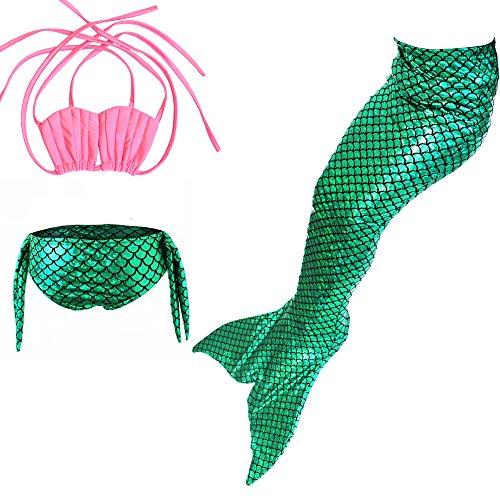 Das Beste Mädchen Meerjungfrau Bikini Kostüm Schwimmanzug Badeanzüge Tankini Muschelbikini Bademode Badeanzüge Meerjungfrauenschwanz Schwimmen Baden, 130, Farbe: Rosa+Grün
