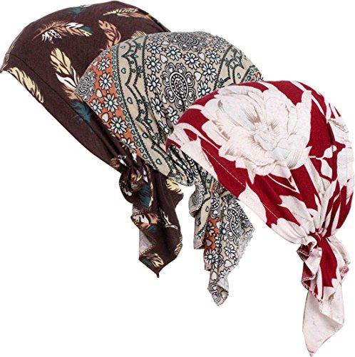 Ababalaya Damen Weich Blumendruck Muslimische Kopftuch Bandana Turban Chemo Krebs Cap...