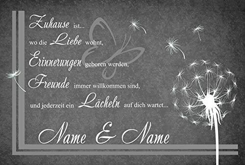 Eule-Design.de Fußmatte Motiv Vintage Lustig Landhaus Shabby Retro Schmutzfangmatte als Geschenk (67x44, AA-Pusteblume grau)