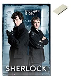 Bundle - 2 Items - Sherlock 221b Baker Street Poster - 91.5 x 61cms (36 x 24 Inches) and Small Block Of White Tack