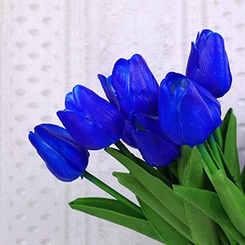 FRP Blumen Real Touch Latex Große 66 cm Tulpen für Blumensträuße, Vasengestecke, Home/Office Decor (5 Stück) Pacific Blue -