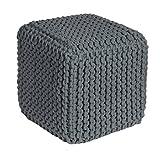 Homescapes Sitzhocker Sitzwürfel see grau 35 x 35 x 35 cm, Sitzkissen Strick Pouf Fußhocker, grob gestrickter Bezug aus 100% Baumwolle, Füllung aus 100% Polystyrol