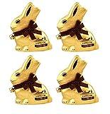 Lindt - Grand Lapin Or au Chocolat Noir pour Pâques 200 g - Lot de 4