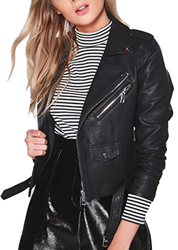 Damen Womens Leder Biker Jacke Schwarz Fitted Bikers Style Vintage Rock