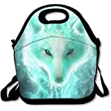 Neoprene Lunch Tote - Cool Wolf Waterproof Reusable Cooler Bag For Men Women Adults Kids Toddler Nurses With Adjustable Shoulder Strap - Best Travel Bag