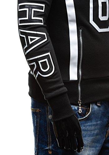 BOLF Herrenpullover Sweatshirt Sweatjacke Langarm Pullover Casual 1A1 Motiv Schwarz