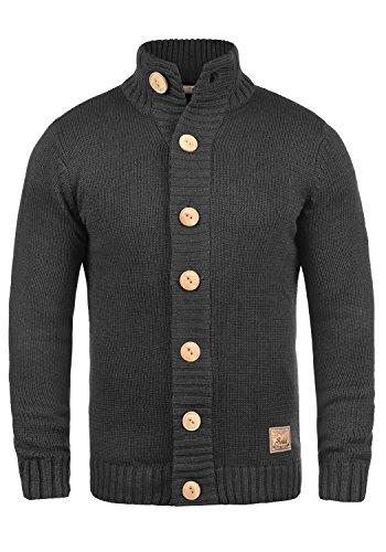!Solid Pete Herren Strickjacke Cardigan Grobstrick Winter Pullover mit Stehkragen, Größe:S, Farbe:Dark Grey Melange (8288)