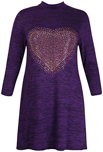 Damen Übergröße Fach gefärbt Gold Paillette Herz Damen langärmlig aufgeweitet Swing Kleid TOP Violett - Violett