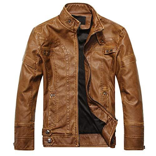Mode Herren Lederjacken Hohe Qualität Motorrad PU Jacke Lässige Leder Mäntel Männer Cowboy Kleidung Plus Größe (Farbe : Gelb, größe : M) (Men Plus Größe Lederjacke)
