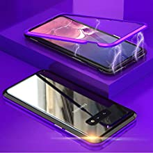 Case Samsung Galaxy S10E Magnetic Cover, Magnetic Adsorption Technology Metal Frame Case Aluminum 9H Tempered Glass Back Cover [Support Wireless Charging]for Samsung Galaxy S10E - Purple