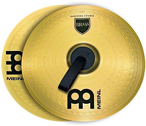 Meinl Cymbals MA-BR-14M Messing-Marschbecken im Paar inklusive Lederriemen und Pads 35,56 cm (14 Zoll)