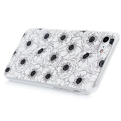 MAXFE.CO PC hülle für iPhone 7 Handyhülle Tasche Back Cover Etui Rück Schutzhülle Harte Kunststoff PC Phone Case Hüllen mit Ein paar Rehe Skin Zurück Drucken Design Weiße Blüten