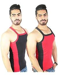 Zimfit Men's Gym Vest 112(Black_Red)