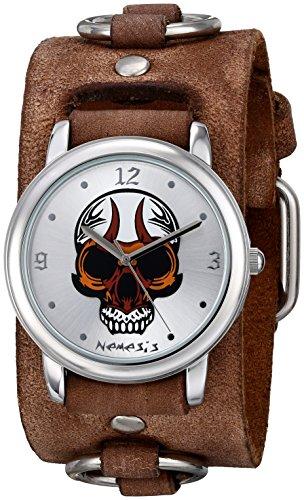 Nemesis Men's 924BFRBS Angry Skull Series Analog Display Japanese Quartz Brown Watch