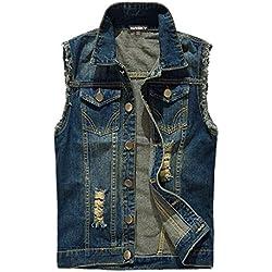 NASKY Hombres Fit Retro rasgada dril de algodón de la chaqueta del chaleco del chaleco chaleco de la tapa (Small, Azul oscuro)