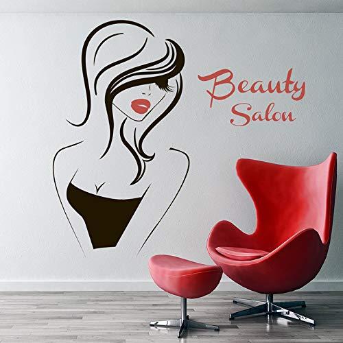 yiyiyaya Wandtattoo Beauty Salon Vinyl Aufkleber Innendekor Aufkleber Friseur Frisur Friseure Frisur Mädchen Gesicht Augen Lippen46 * 42cm