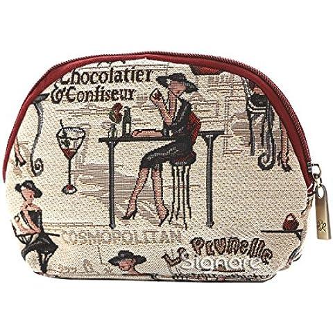 Bolso pequeño para cosméticos hecho en tela tapiz, diseñado por Signare Café té o yo