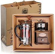 ماكينة تحضير القهوة الفرنسية مع وعاء للقهوة والشاي وكوب ترشيح مع مطحنة قهوة يدوية