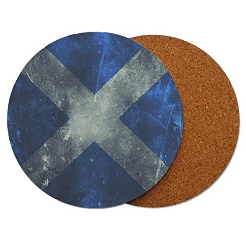 Schottland Scottish Grunge Runder Holz-Untersetzer mit Korkrückseite 95mm x 95mm (Packung mit 6) -