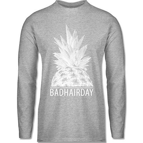 Shirtracer Statement Shirts - Badhairday - Ananas - Herren Langarmshirt Grau Meliert