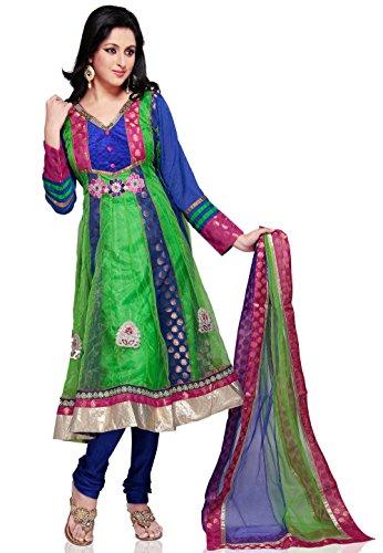 Utsav Fashion Embroidered Net Anarkali Suit in Green Color