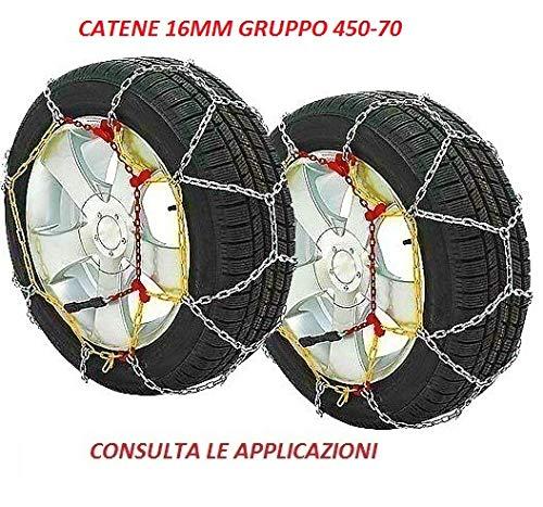 RICAMBIITALIA2017 Catene da Neve 16 mm Adatto per SUV E Fuoristrada Gruppo 450-70 Monta su GOMME 9 R15-750 R15-8 R17.5-245/70 R16-205/75 R17.5-215/75 R17.5