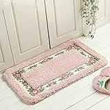 Fulla2116 40X60CM hübsche weiche Blumenrose ländliche Art Viereck Badezimmer Akzent Wolldecke Fußboden Matte rutschfeste Wolldecke (Rosa)