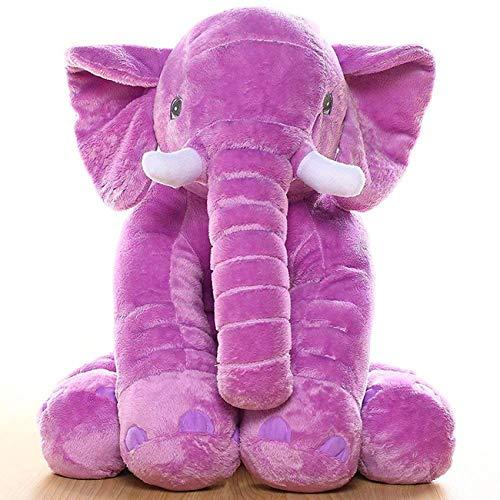 Uni-Wert Kinder Weiches Plüsch-Elefant Spielzeug Kuscheltier Plüsch Stuffed Weiches Kissen Schlafkissen Kinder Baby Schlafender Rücken Kissen Elefanten Kissen Kinder (Lila, 60cm) - Elefanten Weichen Kissen