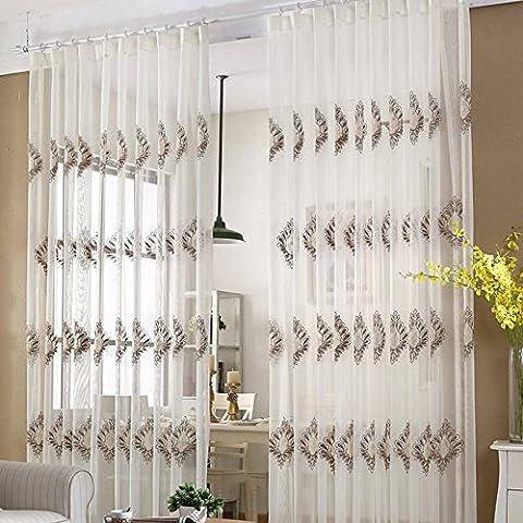 dépistage de fenêtre de rideaux occultant Polyester Broderie balcon fenêtre Chambre à coucher Isolation thermique, blanc, door 2.8 meters