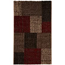 Lalee 347167739 Mondo 105 - Alfombra (60 x 110cm), diseño de cuadros, color rojo y marrón