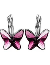 Peora Silver Plated Swarovski Elements Purple Montana Butterfly Crystal Stud Earrings For Women And Girls