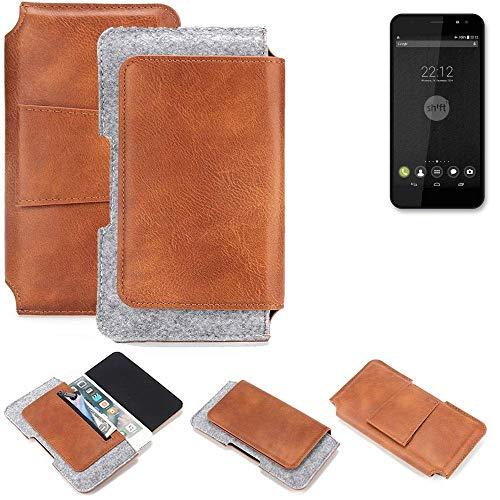 K-S-Trade Gürteltasche für Shift Shift4 Gürtel Tasche Schutz Hülle Hüfttasche Belt Case Schutzhülle Handy Hülle Smartphone Sleeve aus Filz + Kunstleder (1 St.)